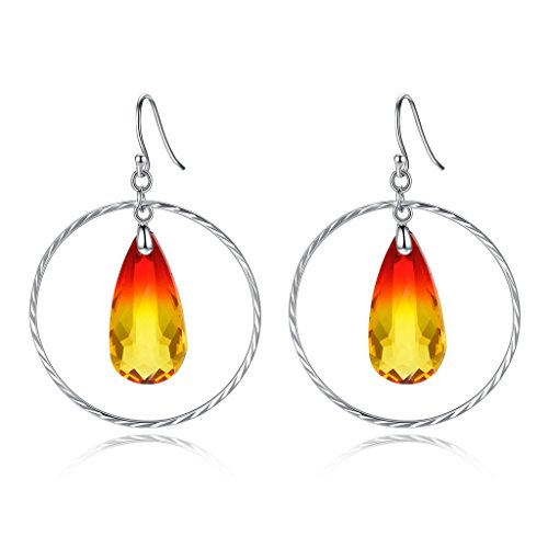 elequeen-925-sterling-silver-big-circle-teardrop-hook-dangle-earrings-yellow-orange-red-adorned-with