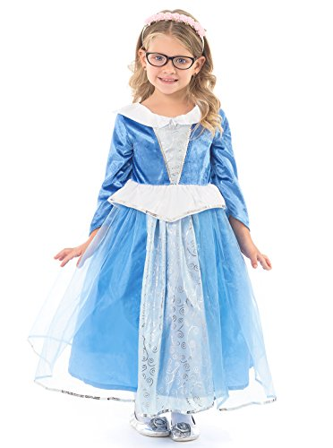 Little Adventures Deluxe Sleeping Beauty Blue Dress Up Costume for Girls - Small (1-3 (Sleeping Beauty Fairy Costumes For Adults)