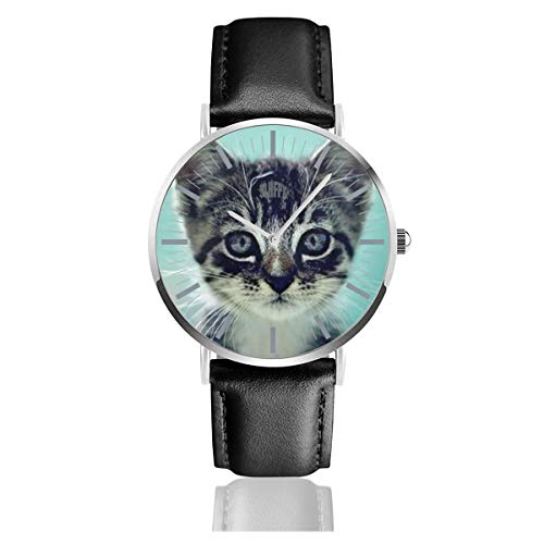 Cats and Kittens Men's Fashion Minimalist Unisex Wrist Watch with Silvery Stainless Steel Watchcase, Leather Band, Crystal Dial 38mm (Leather Ivory Chronograph)