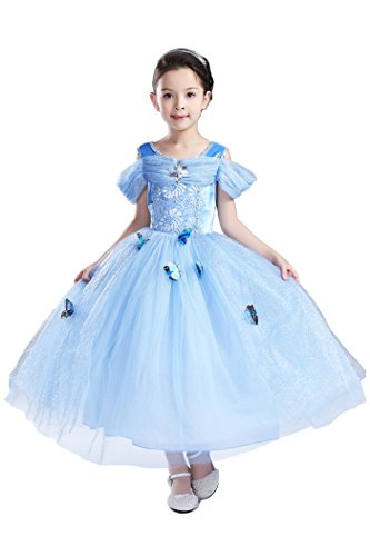 [YMING Girls Blue Princess Cosplay Dress Girl Costume 9-10 Years] (Pajamas Dance Costumes)