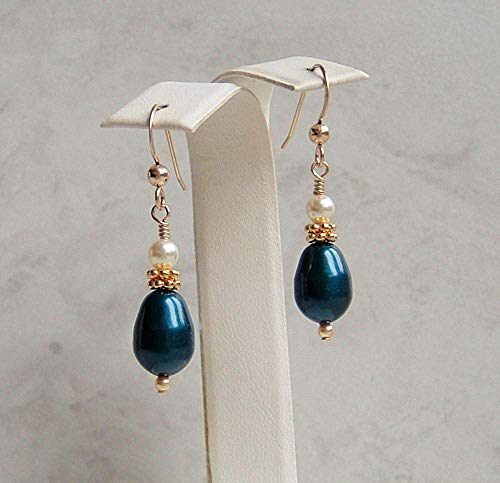Dark Teal Blue Simulated Teardrop Pearl Gold Filled Earrings Made With Swarovski Gift Idea