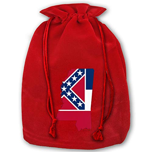 LOUXIO Flag Map of Mississippi Christmas Drawstring Gift Bags Santa Storage Sack Backpack for Party Favors Candy Delicate Printing