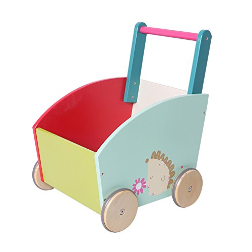 Labebe Baby Walker with Wheel, Green Hedgehog Printed Wooden Push Toy, 2-in-1 Wooden Activity Walker for Baby 1-3 Years, Baby Learning Walker/Baby Push Toy/Push Along Toy/Little Walker/Infant Wagon