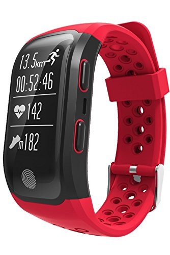 GPS Watch Waterproof Sports Fitness Tracker Heart Rate Monitor Bluetooth Smart Bracelet Red