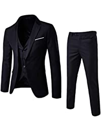 515842090092 Men's Suit Slim Fit One Button 3-Piece Suit Blazer Dress Business Wedding  Party Jacket