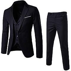 MAGE MALE Mens 3 Pieces Suit Elegant Solid One Button Slim Fit Single Breasted Party Blazer Vest Pants Set, Black, L