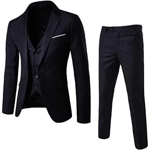 WULFUL Men's Suit Slim Fit One Button 3-Piece Suit Blazer Dress Business Wedding Party Jacket Vest & Pants Black -