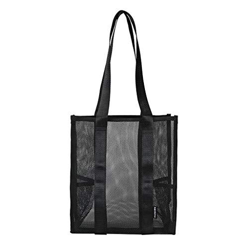 Pengy Unisex Mesh Shoulder Bag Pure Color Shopping Bag Large Handle Bags Shopping Bags Large Tote Shoulder Handbag