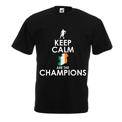 N4491 T Shirts for Men Keep Calm, Irish are The Champions (XX-Large Black Multi Color)