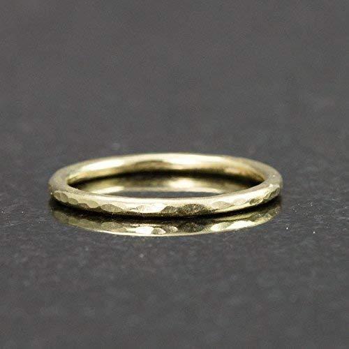 Solid 18k Gold Stack Ring - Hammered Gold Band 1.3mm