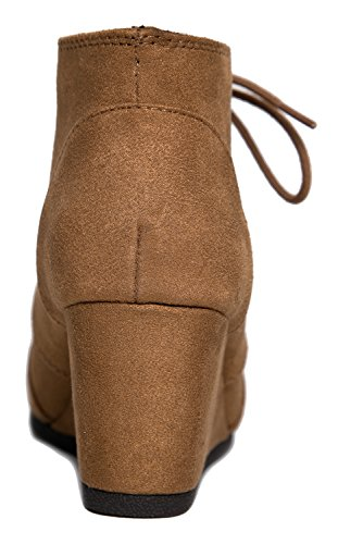 J. Adams Wedge Känga - Låg Klack Toffeln - Tillfällig Bekväm Snörning Häl - Mode Kort Heeled Kvinna Bootie Hassel Imsu **