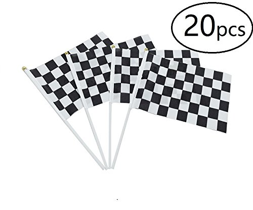 Checkered Flag Racing Flags on Plastic Stick,20pcs,Black