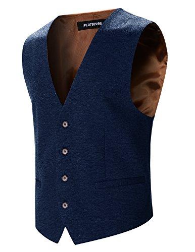FLATSEVEN Mens Designer Stylish Casual V - Navy Blue Dress Vest Shopping Results