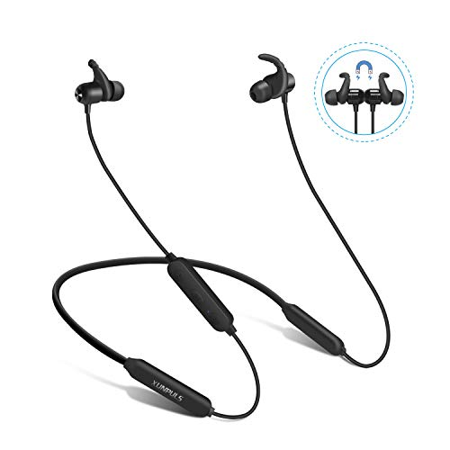 Bluetooth Headphones, VICOUP Noise Cancelling Wireless in Ear Earbuds with Microphone, 15 Hrs Dual Batteries, Bluetooth 4.2 Sports Sweatproof Magnetic Neckband Earphones with Deep Bass HD Stereo