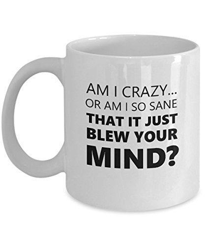 Funny Seinfeld Quote Coffee Mug Gift - Am I Crazy or Am I So Sane That It Just Blew Your Mind?