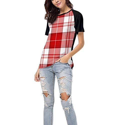QWXZC Lattice Womens Short Sleeves Baseball Tee Casual Raglan Shirt Baseball Raglan T-Shirt.Black.