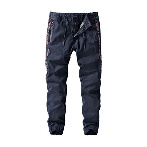MIS1950s Men's Cargo Pants Casual Loose Pleated Drawstring Stretch Waist Solid Trouser Overalls with ()