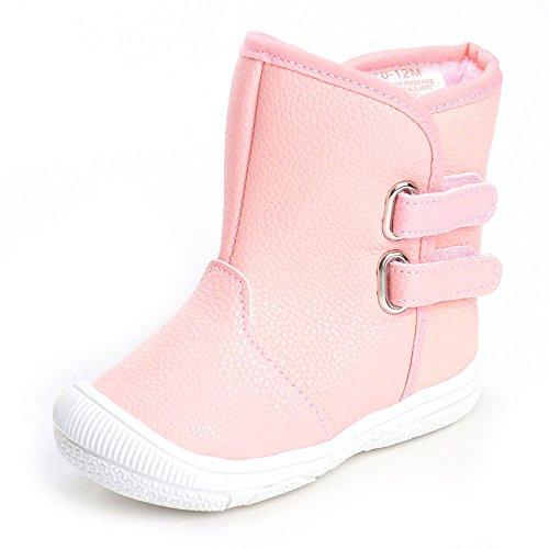 Enteer Infant Baby Girls' Soft Rubber Sole Anti-Slip Warm Winter Prewalker Leather Toddler Boots (13-18 Months, Pink) (Toddler Boots Snow Winter)