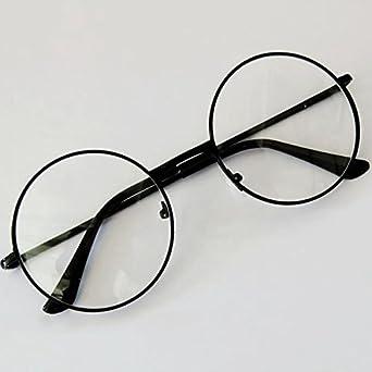 Forfar Moda Unisex Retro Lentes de aro de círculo redondo de metal original Ojo claro de la lente Gafas 2 estilos para hombres y mujeres