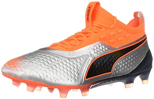 Firm Ground Soccer Shoes 14 - PUMA Men's ONE 1 Synthetic Firm Ground Soccer Shoe, Silver-ShockingOrangeBlack, 14 M US