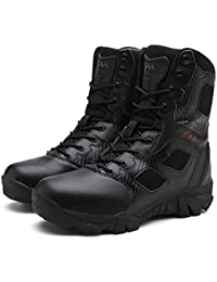 5db8ba3ab46d20 Men s Outdoor Sports Hiking Side Zip Knife Pocket Lace Up Military Tactical  Boots