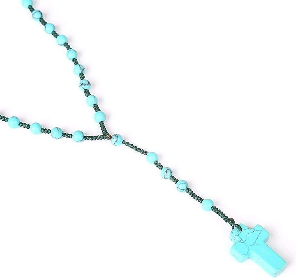 YANCONGBoutique Turquesa Colgante Cruz con Cuentas Collar Largo Piedras Preciosas Naturales Hombres Mujeres Accesorios religiosos Actividad de oración