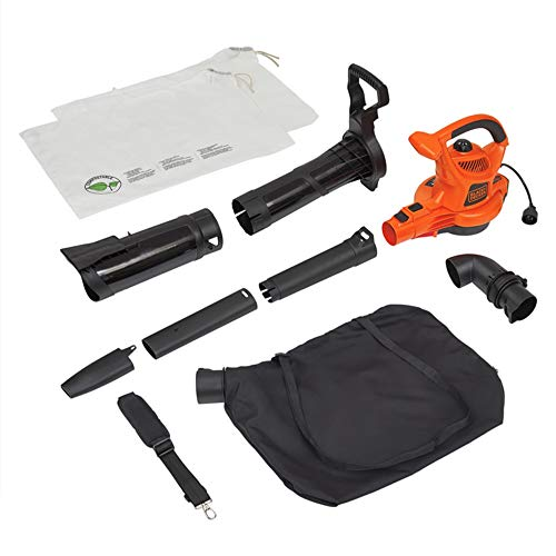 BLACK+DECKER 3-in-1 Electric Leaf Blower & Mulcher with Leaf Vacuum Kit, 12-Amp (BV6000) (Best Cordless Electric Leaf Blower)