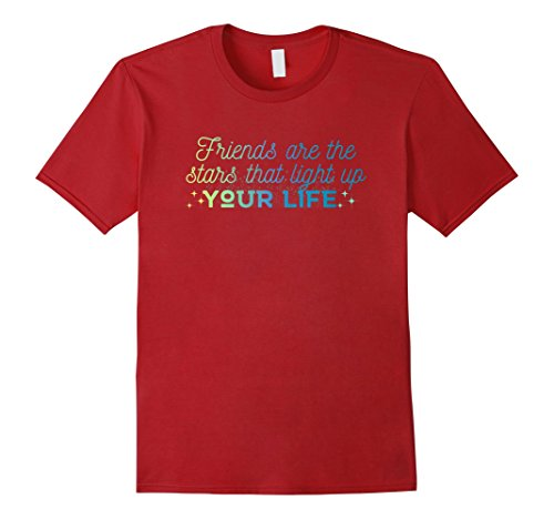 Mens Friends are the Stars that Light Up Your Life T-shirt 3XL Cranberry (T Shirts That Light Up)