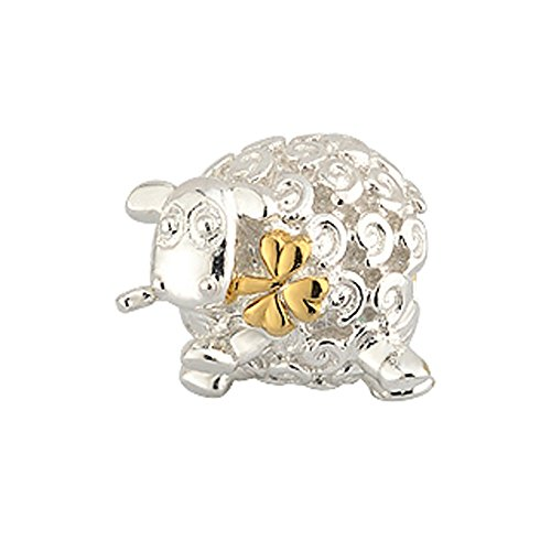 (Bead Charm With Sheep And Gold Shamrock In Mouth, Hallmarked Sterling Silver )