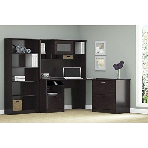 Advantage Beech Workstation (ioneyes cabot corner desk with hutch, lateral file cabinet and 5 shelf bookcase in espresso oak )