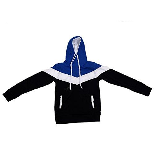 SODIAL (R) Nuovo Autunno & Inverno banda trapuntata con cappuccio blu jeans Slim Fit felpa abbigliamento da uomo blu marino L