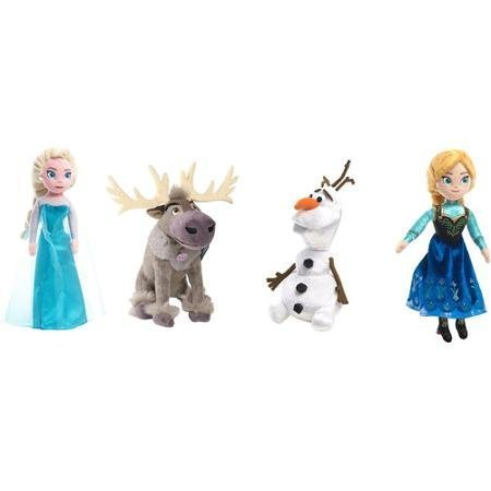 Talking Plush Bean Set of 4 Including: Elsa, Anna, Olaf, Sven