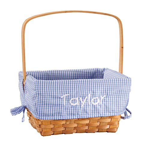 Fox Valley Traders Personalized Blue Gingham Wicker Easter -