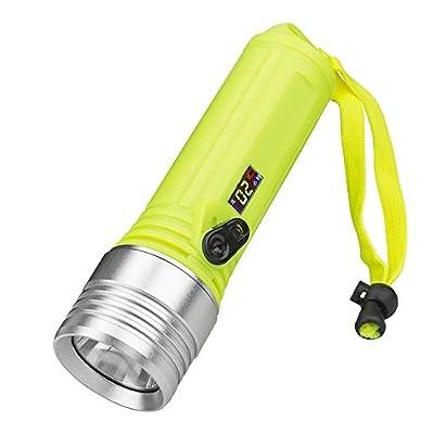 SHUDAGE Emergency Outdoor Flashlights ?3 Modes Waterproof Scuba Diving XM-L L2 LED Dive Flashlight Torch Light 18650 Green
