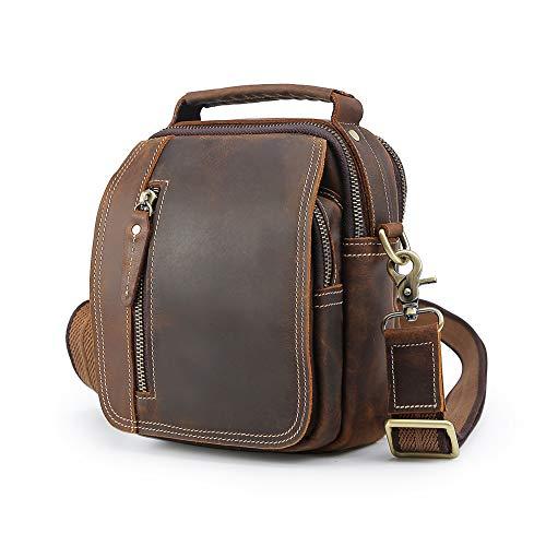 Men's Vintage Leather Case Slim Messenger Satchel Casual Outdoor School Travel Tablet Waist Pack Belt Pouch Shoulder Bag Tote Handbag Brown