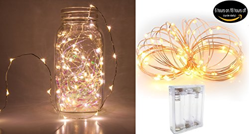 Fairy String Lights Battery Operated 30 Micro LEDs on 9.8 Feet Long Copper Wire Firefly Lights, With Timer Battery Box Perfect for Wedding Party Centerpiece Table Decorations, Xams