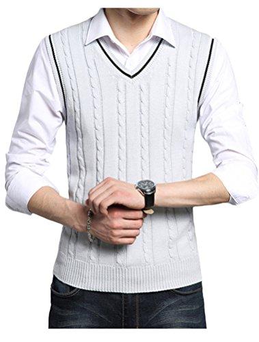 (Lavnis Men's V-Neck Pullover Vest Casual Sleeveless Knitted Slim Fit Sweater Vest Gray)