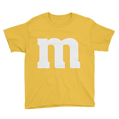 Poogky Kids Letter M Halloween Costume T-Shirt (L, Yellow) ()