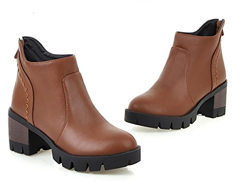 Kitzen Women Ankle Martin Boots Round Tassel Martin Toe High Heel Short Boots Dark Brown f9vhhcewV