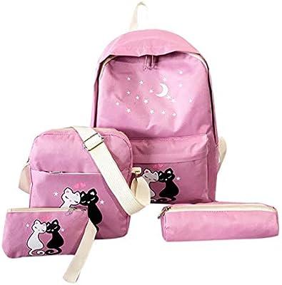 52c621c4a079 Sunbona (TM) Schoolbag Women's Four-Piece Backpack Printed Cat ...