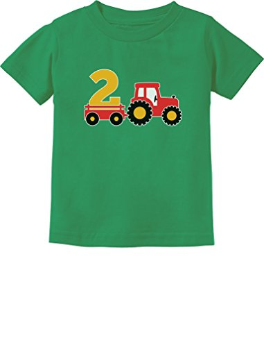 2nd Birthday Gift Construction Party 2 Year Old Boy Toddler/Infant Kids T-Shirt 2T Green