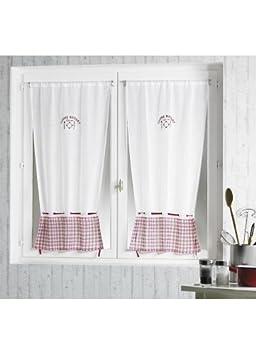 Paire 2 Rideaux étamine motifs cuisine bistrot - Blanc: Amazon.fr ...