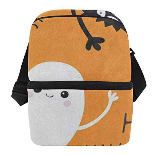 Lunch Bag Happy Halloween Ghost Bat Insulated Cooler Bag Mens Leakproof refrigerator Storage Zipper Tote Bags for Biking