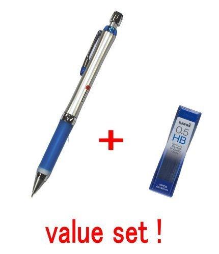 Uni-ball Alpha-gel Mechanical Pencil 0.5mm-soft Grip-(slim Type) Blue -(M5807gg1p.40) & Diamond Infused Leads [Nano Dia-40 Leads] Value Set(with Our Shop Original Description of Goods)