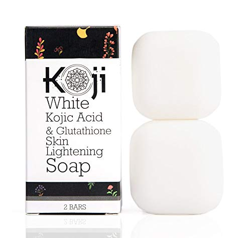 Kojic Acid & Glutathione Skin Lightening Soap (2.82 oz / 2 Bars) - Brightening & Bleaching Skin Tone Formula - Reduce Acne Scars, Wrinkles Elimination, Removal Acne Scars, Dark Spots And Freckles