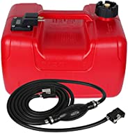 VEITHI Rectangular Portable Boat Fuel Tank with Hose Connector for Marine Outboard Motor Fuel Tank- Red (1pack