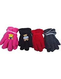 Four Pairs of One Size Fleece Microfiber Glovesfor Infants for Ages 0-12 Months