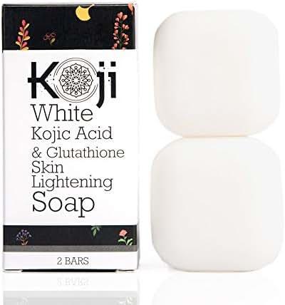 Kojic Acid & Glutathione Skin Lightening Soap (2.82 oz / 2 Bars) - Brightening & Bleaching Skin Tone Formula – Reduce Acne Scars, Wrinkles Elimination, Removal Acne Scars, Dark Spots And Freckles