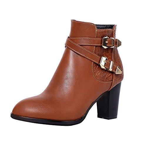 Vitalo Womens High Block Heel Buckle Ankle Boots Zip Ladies Booties Shoes Brown