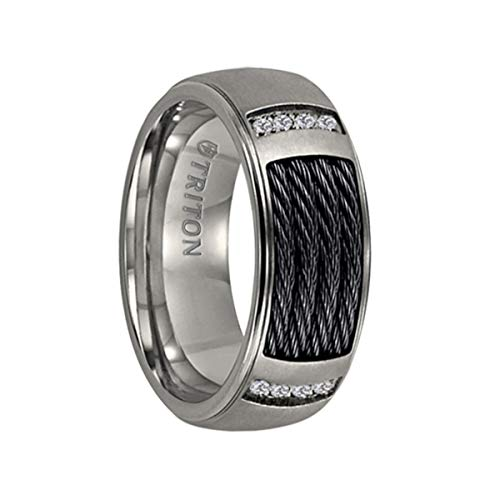 Triton Ring Titanium Step Edge Comfort fit Diamond Band with Black Steel Cable Inlay ()